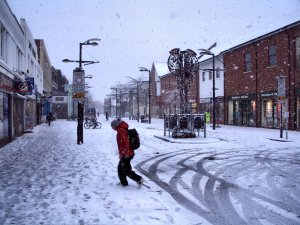 Looking eastwards along Fareham West Street, about nine a.m...