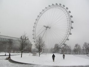 The London Eye, unsurprisingly less busy than usual today...