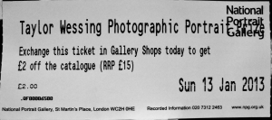 Entry ticket for the Taylor Wessing Photographic Portrait Prize 2012