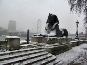 One of two Sphinxes, guarding Cleopatra's Needle...