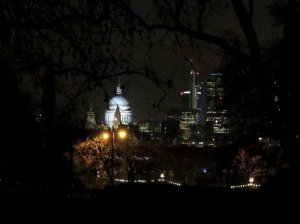 St. Paul's Cathedral, as seen through through trees on the Victoria Embankment, from near Charing Cross...