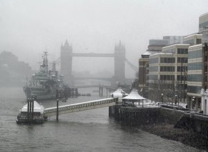 Misty view downstream from London Bridge, towards HMS Belfast and Tower Bridge...
