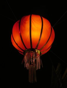 Large Chinese lantern, hanging above Wardour Street, at the western edge of Chinatown...
