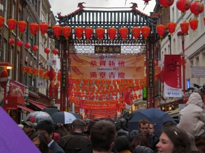 Gerrard Street, London Chinatown's main shopping street, early afternoon today...