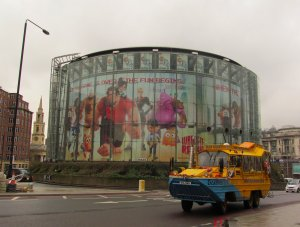The BFI IMAX cinema, and Beatrice, a Duck Tours vehicle...