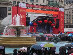 And here's the stage where most of those events took place...and note the Hong Kong/Cantonese heritage of London's Chinatown, with 'kung hei fat choi' instead of the Mandarin 'gong xi fa cai'...