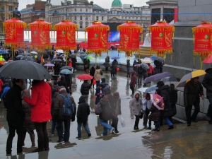 Steps leading down into Trafalgar Square, where Chinese New Year events were taking place all afternoon..