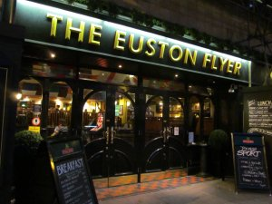 'The Euston Flyer' on the south side of the Euston Road, and much nearer to St. Pancras Station than Euston Station, which is a quarter of a mile further west...