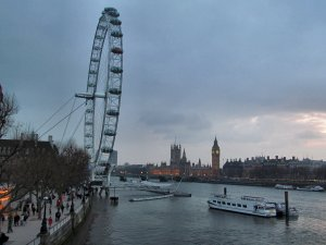 View of Westminster, upstream from Hungerford Bridge...