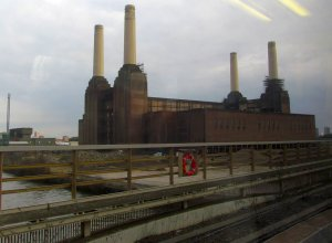 The long-derelict Battersea Power Station, as seen from a Kent-bound train leaving Victoria station late this afternoon...
