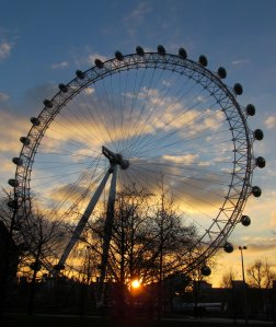 The London Eye and a setting sun...