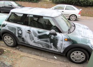 A interesting choice of painting on a car in Naylor Road, Whetstone, London N20 ;)