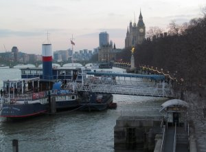 The north bank of the Thames, between Hungerford Bridge and Westminster Bridge...