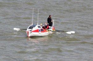 Vessel on the River Thames, approaching Waterloo Bridge...