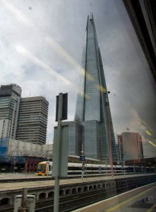 Later this year, I'll be uploading some photos of London taken from the top of The Shard, but for now, this is just a snatched shot taken from the train carriage as we moved out of London Bridge Station...