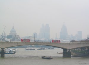 Waterloo Bridge and the City of London beyond