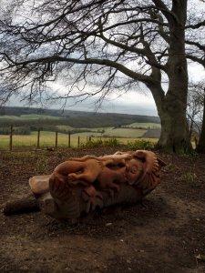 A carved bench, Bush Hill, Cuxton, Kent