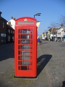 A traditional red telephone box in Fareham West Street