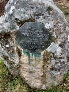 Hillside monument to Edward Thomas, at Steep, Hampshire