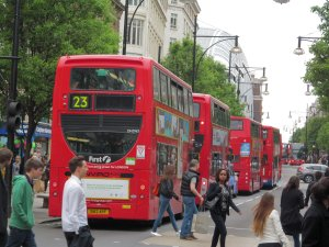 A queue of buses in Oxford Street...