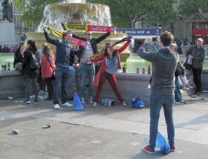 German fans in Trafalgar Square,  prior to this evening's Champions League Final at Wembley...and a great match it was too :)...