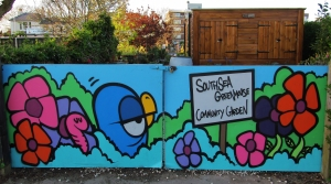 Southsea Greenhouse Community Garden, near Canoe Lake (artwork by Fark)