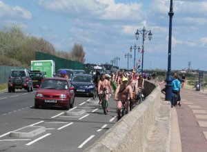So here they come, along the seafront road from Eastney...