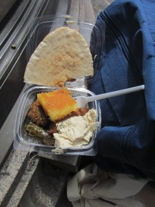 Some very tasty Egyptian vegetarian food, being handed out free from the Ali Baba stall