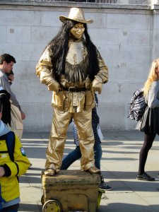 A living statue, north of Trafalgar Square...