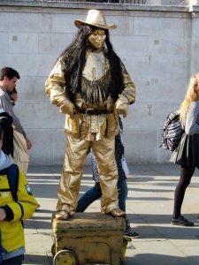 A living statue, north of Trafalgar Square...