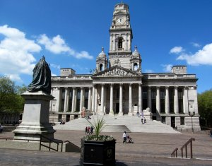 Portsmouth Guildhall, looking resplendent in the welcome sunshine...