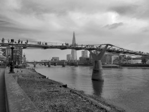 The Millennium Bridge, with Southwark Bridge beyond...