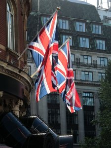 Union Flags in Leicester Square...