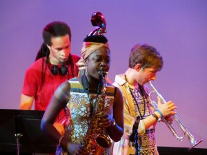 Young jazz musicians, in the Clore Ballroom, Royal Festival Hall, about 9.15 pm on Friday