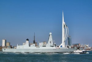 HMS Diamond (D34) a Type 45 Royal Navy destroyer, making its way out into the Solent from Portsmouth Harbour...