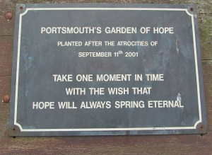 Portsmouth Garden of Hope message