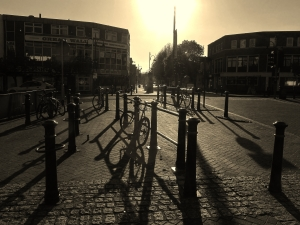 Looking towards Gosport High Street, contre-jour, early evening today...