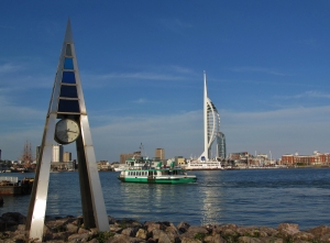 Another view, with the Gosport Ferry, 'Queen of Portsmouth' crossing the water...