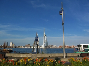 Gosport waterfront, with Portsmouth beyond...