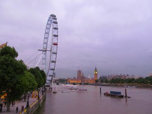 View upstream from Hungerford Bridge, around half-nine, Friday, 28th June 2013