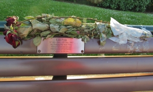 Touching tribute... on a waterfront bench near Haslar Marina