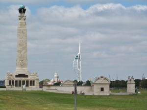 The Naval War Memorial on Southsea Common, with the Spinnaker Tower at Portsmouth Harbour in the distance