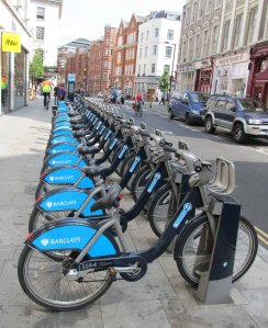 Some 'Boris Bikes', awaiting hirers...