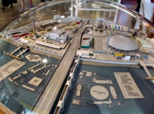 A model of the 1951 Festival of Britain site, near the front of the Royal Festival Hall...