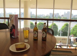 Overlooking the Thames at the Members' Bar at the Royal Festival Hall
