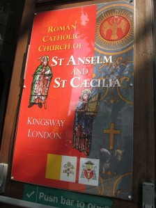 The door of St Anselm and St Caecilia's Roman Catholic Church in Kingsway, London, WC2