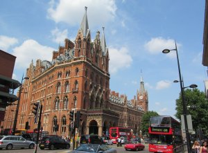 One of the glories of English railway architecture, St Pancras Station, as seen from the far side of the Euston Road...