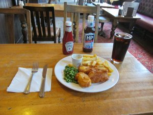 Yes, Vegetarian 'Fish' and Chips, with a pint of Cola and ice...
