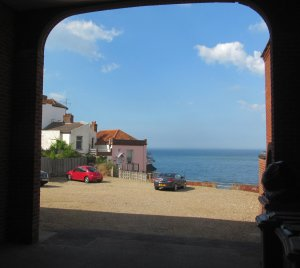A framed seaview from the town...