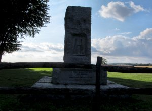The stone memorial, on Broadhalfpenny Down...